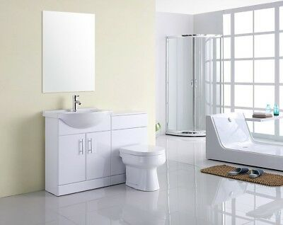 1050mm High Gloss White Vanity Sink Unit, Basin & BTW Toilet Furniture Suite