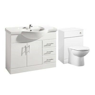 1550mm High Gloss White Vanity Unit, Back to Wall BTW Unit, Toilet &  Cistern