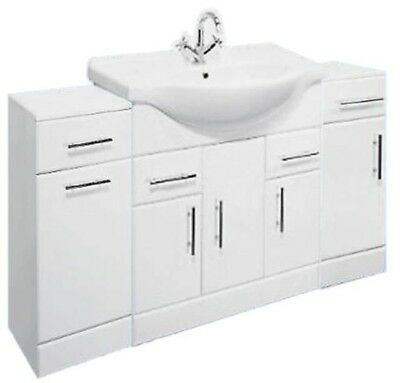 1450mm White Bathroom Set 850mm Vanity with Cupboard Laundry Unit