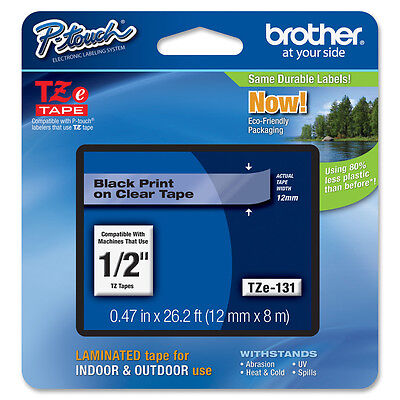 Brother TZE131 TZ Label Tape Cartridge - Black, Clear - 1 Each