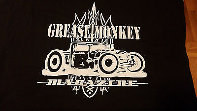 GREASE MONKEY  MAGAZINE - Hot Rod t-shirt Black  LG. Art work by Jason North