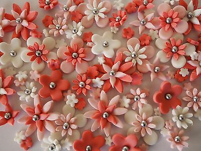 60x edible sugar flowers CUPCAKE TOPPERS cake decorations WEDDING birthday party