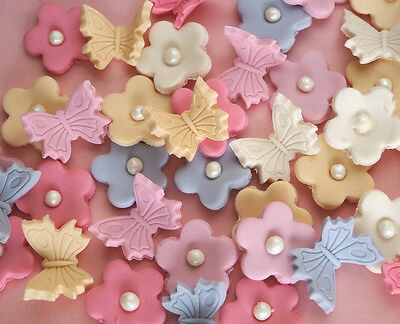 Flowers & butterflies CUPCAKE TOPPER edible cake decoration BIRTHDAY baby shower