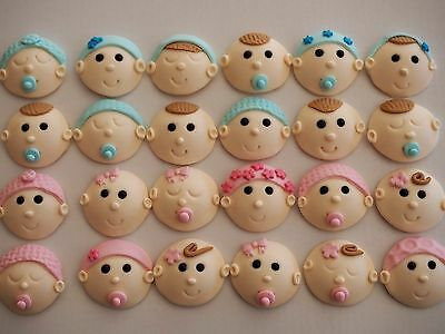 12 x BABY FACES cupcake toppers BABY SHOWER edible fondant CAKE DECORATION