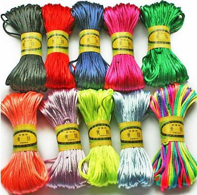 A Roll 3mm Chinese Knot Satin Nylon Braided Cord Beading Rattail Cords DIY