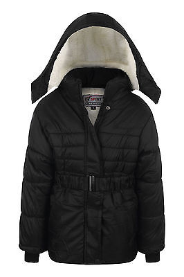 New Girls Coat School Padded Hooded Jacket Age 2-3 years Waterproof Black