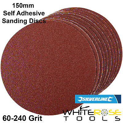 Silverline 10pc Self Adhesive Sanding Discs 150mm 60-240 Grit Sand Paper