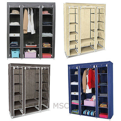 Fabric Canvas Wardrobe With Hanging Rail Shelving Home Storage 135*45*175cm