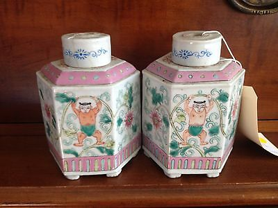Unusual Chinese 19th Century Qing Dynasty Porcelain Tea Caddy Lamps Naked Man!