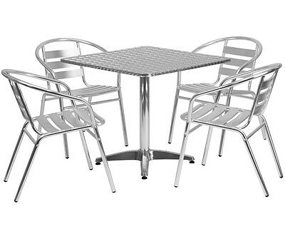 SQUARE RESTAURANTCAFEBAR IndoorOutdoor Aluminum Table With - Aluminum table and chairs for restaurant