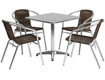 Set of 10 Square Restaurant/Cafe/Bar Indoor/Outdoor Aluminum Table with 4 Chairs