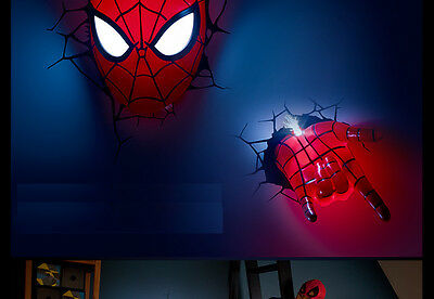 3D Deco Led Night Light Spider-man Mask + 3D Hand Wall Mounted Design NEW 3D FX