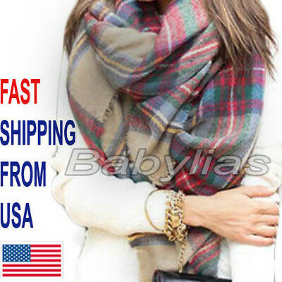 Plaid Blanket Scarf Tartan Checked Pashima  Shawl Oversized Winter Wrap Cozy