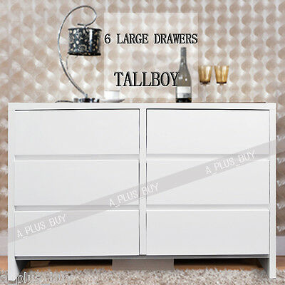 High Quality Gloss White Wooden Tallboy Cabinet Chest Organiser 6 Drawer 6204