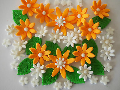 50 Garden flowers & leaves CUPCAKE TOPPERS edible sugar cake decoration BIRTHDAY