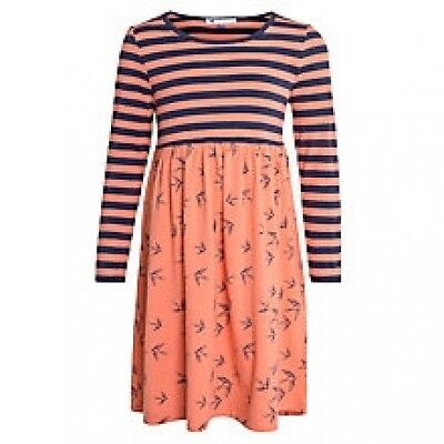 Girls NEW Ex store John Lewis Striped Jersey Swallow Print Dress Age 2 4 5