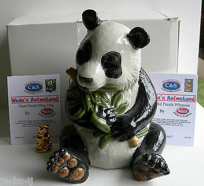 Rare C & S Wade's Animaland Giant Panda Ping Ping & Gold Whimsie 67/100  & C.o.a