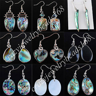 Free shipping New Zealand Abalone Shell Beads 18K Dangle Earrings Pair SBR044