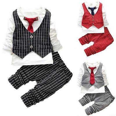 2PCS Baby Boys Gentleman Waistcoat+Tie+Shirt+Jeans Outfit Sets Kids Clothes 1-4T