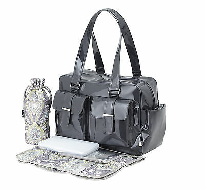 OiOi Patent Nappy Bag Carryall - Diaper Hospital Bag - Brand New - Fast Shipping