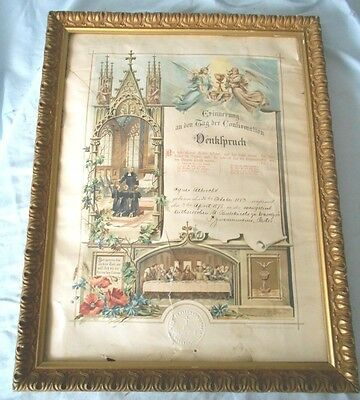 Wood Picture Frame 1898 with German Confirmation Certificate Antique