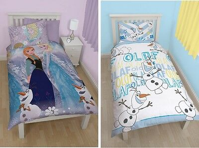 Disney Frozen Anna Elsa Olaf Reversible Kids Girls Single Duvet & Pillowcase Set