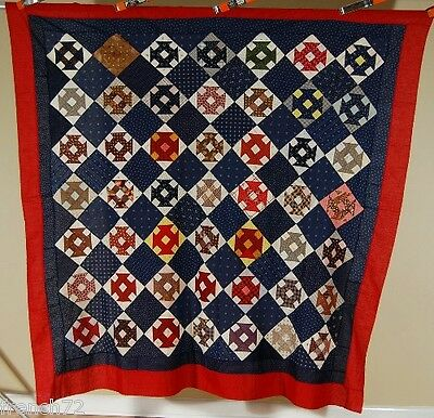 VIBRANT 1870's Monkey Wrench Antique Quilt Top ~Indigo Background & Small Scale!