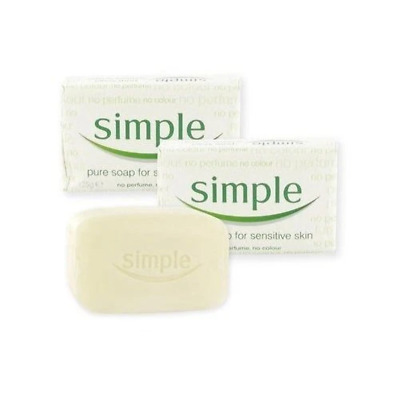 Simple 4x Pure Soap Bars 125g - For Sensitive Skin Face & Body Gentle Wash NEW