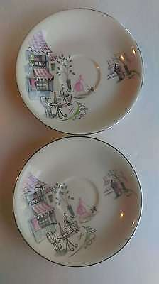 2 Alfred Meakin (England) Saucers featuring a French Cafe