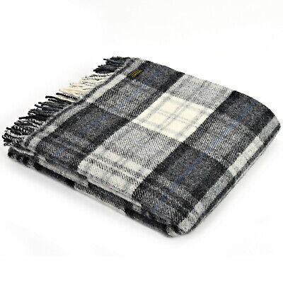 TWEEDMILL TEXTILES 100% New Wool Sofa Bed Throw Blanket - COTTAGE - GREY CHECK
