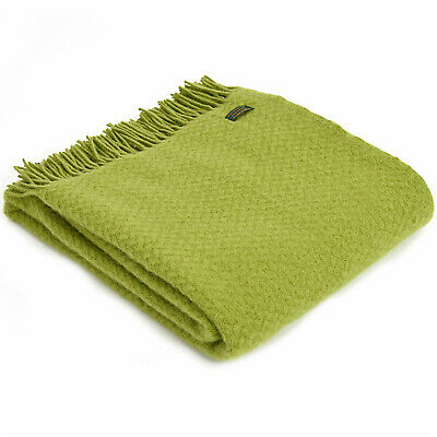 TWEEDMILL TEXTILES 100% New Wool Sofa Bed Throw Blanket - WAFER GRASS GREEN