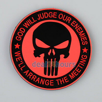 Navy Seals The Punisher Red Arm Badge 3D PVC Rubber Military MAGIC TAPE