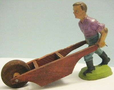 Old 1930s German Composition Farm Boy pushing wooden Garden Wheelbarrow NICE!