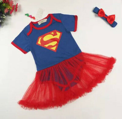 Super Hero Superman Supergirl Fancy Dress Baby Girl Tutu Babygrow Romper Suit