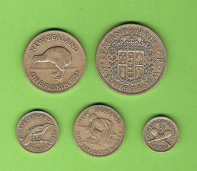 1934  New Zealand Silver  Coins