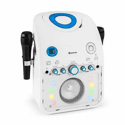 Karaoke System Musikanlage Party Kinder Bluetooth Cd Aux Led Lichteffekt Weiß