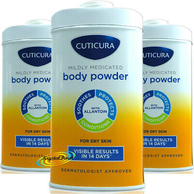 3 x Cuticura Mildly Medicated Talc Talcum Powder Skin Soothing Allantoin 150g