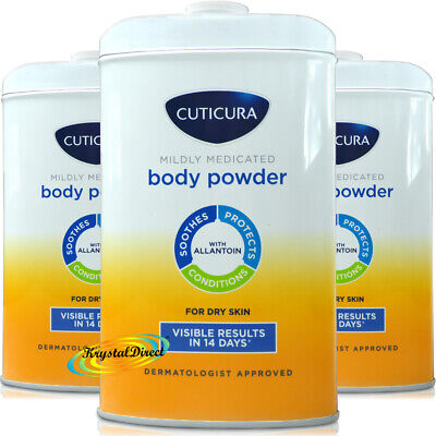 3x Cuticura Mildly Medicated Talc Talcum Powder Skin Soothing Allantoin 250g