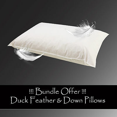 Luxury Duck Feather & Down Pillows, Comfortable and Soft 4,6 Packs Bundle Offers