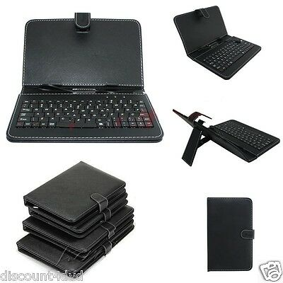 "Micro USB Keyboard PU Leather Stand Case For 7""8""9""10"" inch Android Tablet Cover"