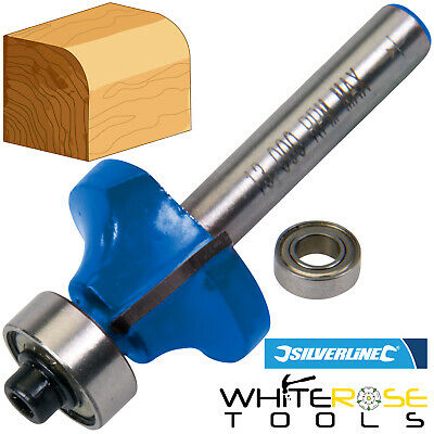 "Silverline 1/4"" Round Over/Ovolo Cutter Router Bit Groove TCT Cutting Kitchen"