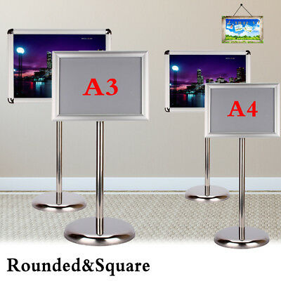 Adjustable Height Custom Floor Display Stand Sign Holder Snap Poster Frame A4 A3