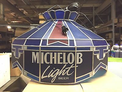 Vintage Collectible Hanging Stained Glass Bar Game Room Light Michelob Beer Lite
