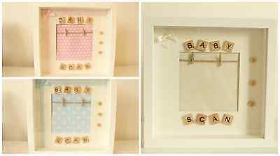Personalised Scrabble New Baby Scan Girl Boy Frame BABY SHOWER Keepsake GIFT