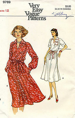 1970's VTG VOGUE Misses' Dress Pattern 9769 Size 12 UNCUT