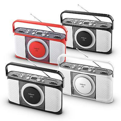 Oneconcept Boomtown Portables Retro Design Kofferradio Cd Player Ukw Mw Radio