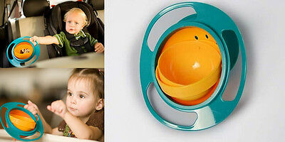 Non Spill Feeding Toddler SS Gyro Bowl 360 Rotating U6 Baby Avoid Food Spilling