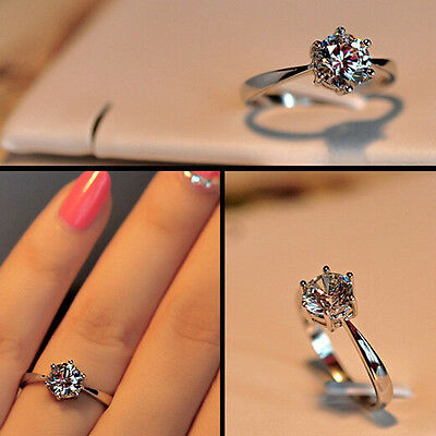 Sterling Silver cubic zirconia New Wholesale Jewelry Wedding Ring Size 5-8