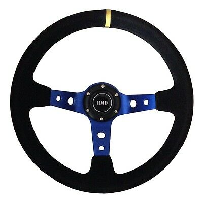 """Steering Wheel 350mm Black Suede 3"""" Dished With OMP style Mounting SVi-4152BSUB"""