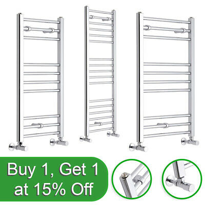 CHROME DESIGNER HEATED TOWEL RAIL Bathroom Flat & Curved Ladder Radiator